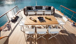 Table setting at a luxury yacht