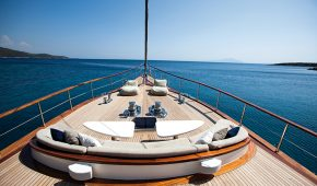 Luxury sailboat at sea